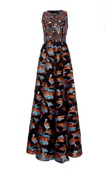 Andrew Gn Sleeveless Embellished Gown Black