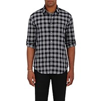 John Varvatos Men's Plaid Button Front Shirt Black Blue Black Blue