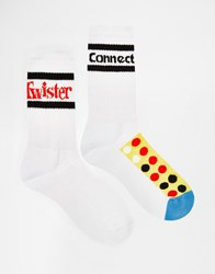 Asos Sports Style Socks 2 Pack With Twister And Connect Four Design White