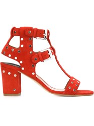 Laurence Dacade Studded Sandals Red