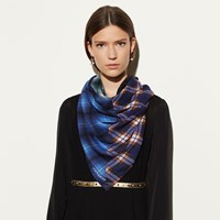 Coach Plaid Mix Oversized Square Scarf Blue