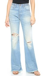Nsf High Waist Braided Belt Flare Jeans Sea Blue