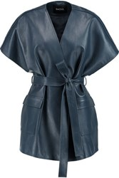 Raoul Belted Leather Kimono Jacket Petrol