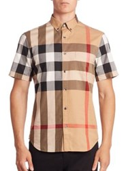 Burberry Fred Check Woven Shirt Camel