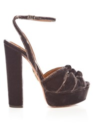 Aquazzura Mira Knot Velvet Platform Sandals Dark Brown