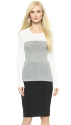 Yigal Azrouel Colorblock Knit Top Heather Grey Multi