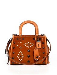 Coach Western Rivets Rogue Studded Leather Tote Ginger