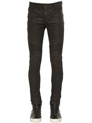 Balmain 15Cm Biker Coated Stretch Denim Jeans