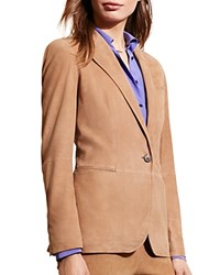 Ralph Lauren Notch Lapel Suede Blazer Hunter Tan