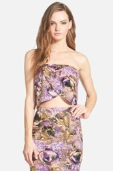 Leith Floral Print Overlay Tube Top Juniors Multi