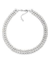 Carolee Pave Collar Necklace 17 Silver
