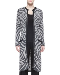 Neiman Marcus Animal Print Sweater Coat Gray Black