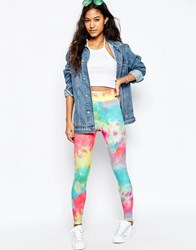 Asos Leggings In Bright Tie Dye Multi