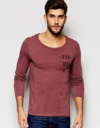 Asos Muscle Long Sleeve T Shirt With Flag Print And Scoop Neck Red