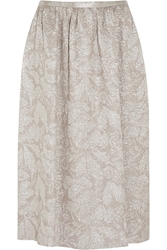 Rochas Metallic Silk Blend Jacquard Midi Skirt
