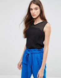 Lavand Sheer Panel Sleeveless Blouse Black