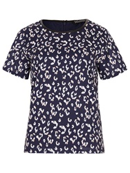 Sugarhill Boutique Evie Leopard Spot Tee Top Navy