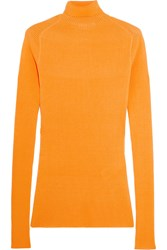 Victoria Beckham Ribbed Silk And Cotton Blend Turtleneck Sweater Orange