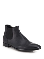 Giorgio Armani Low Rise Saffiano Leather Chelsea Boots Black