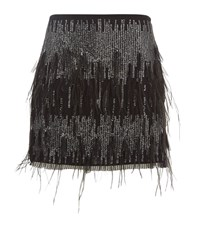 Pinko Feather Sequin Skirt Female Black