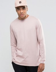 Asos Relaxed Longline Long Sleeve T Shirt In Pink Pink