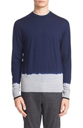 Lanvin Men's Dip Dye Crewneck Sweater Navy