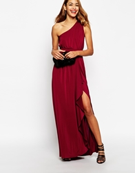 Asos One Shoulder Sexy Slinky Maxi Dress Oxblood