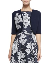 Carolina Herrera Lace Floral Applique Knit Bolero Navy