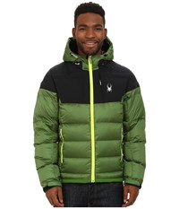 Spyder Bernese Down Jacket Mountain Top Black Bryte Yellow Men's Coat Green
