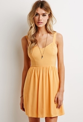 Forever 21 Smocked Back Fit And Flare Dress Mustard