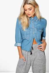 Boohoo Oversized Pocket Denim Shirt Mid Blue