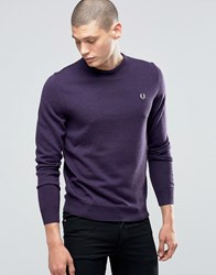 Fred Perry Jumper With Crew Neck In Blackcurrant Marl Bkcurnt Ml Purple