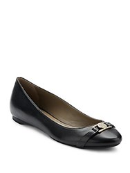 Versace Leather Ballet Flats Black