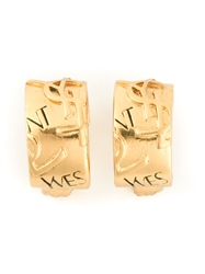 Yves Saint Laurent Vintage Ysl Embossed Hoop Clip On Earrings Metallic