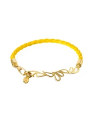 Sho London Mari Fiendship Leather And Silver Vermeil Bangle Yellow