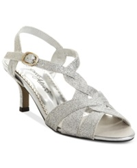 Easy Street Shoes Easy Street Glamorous Evening Sandals Women's Shoes Silver Glitter