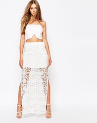 Missguided Crochet Maxi Skirt Whitecream