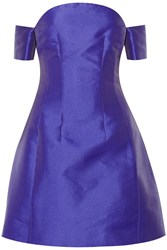 Carven Off The Shoulder Satin Twill Mini Dress Purple