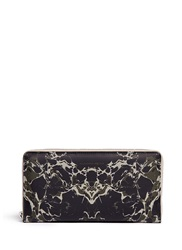 Alexander Mcqueen Army Marble Print Patent Leather Zip Travel Wallet Green