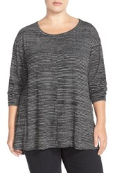 Plus Size Women's Sejour Print Long Sleeve High Low Tee Black White Stripe