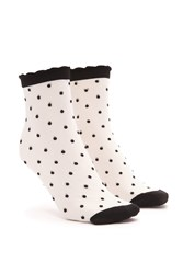 Forever 21 Polka Dot Crew Socks Black