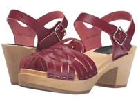Swedish Hasbeens Braided High Wine Red Women's Clog Mule Shoes