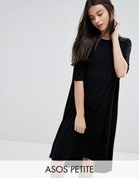 Asos Petite Oversized T Shirt Dress With Curved Hem Black