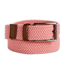 Perry Ellis Webbed Leather Trim Belt Pink