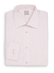 Ike Behar Striped Cotton Dress Shirt Coral