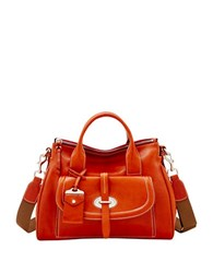 Dooney And Bourke Florentine Toscana Front Pocket Leather Satchel Ginger