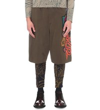 Dries Van Noten Hagany Embellished Cotton Jersey Shorts Khaki