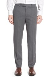 Monte Rosso Men's Flat Front Solid Wool Trousers Light Grey
