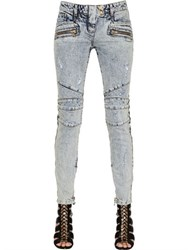 Balmain Destroyed Stretch Denim Biker Jeans