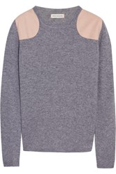 Chinti And Parker Faux Suede Paneled Cashmere Sweater Gray